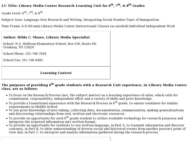 Library Media Center Research Learning Unit for 6th, 7th, & 8th Grades Lesson Plan