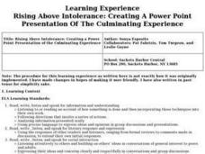 Rising Above Intolerance: Creating A Power Point Presentation Of The Culminating Experience Lesson Plan
