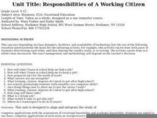 Responsibilities of A Working Citizen Lesson Plan