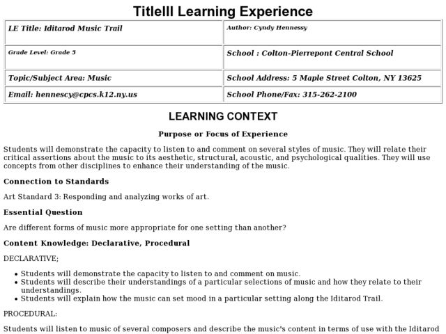 Iditarod Music Trail Lesson Plan
