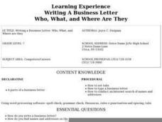 Writing A Business Letter Who, What, and Where Are They Lesson Plan