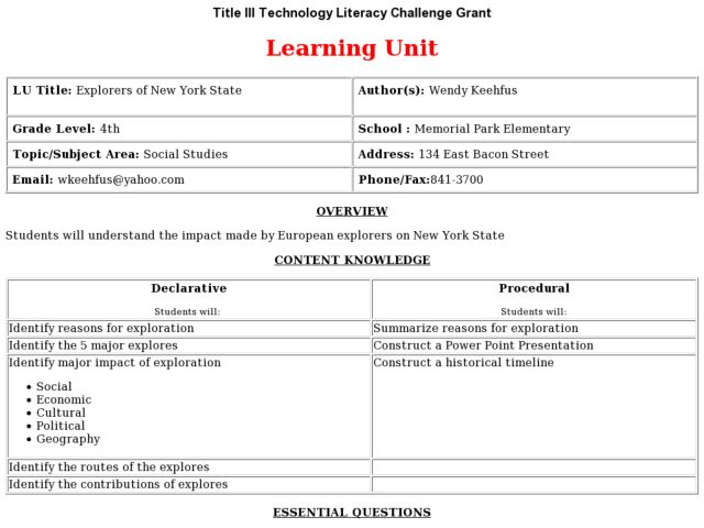 Explorers Of New York State Lesson Plan For 4th Grade