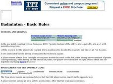 Badminton - Basic Rules Lesson Plan