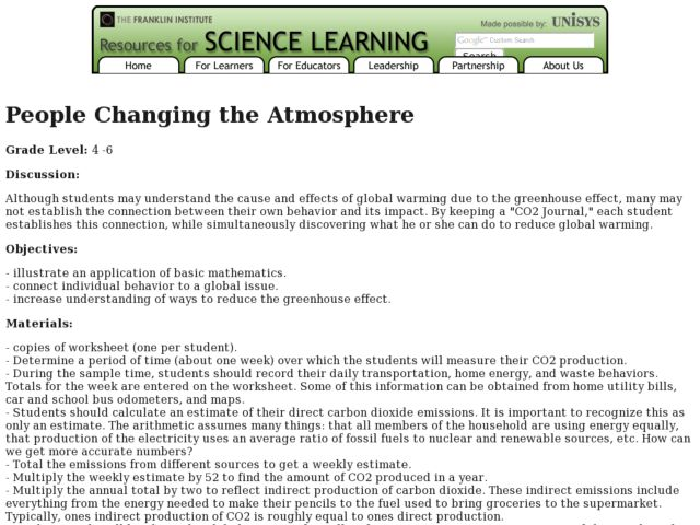 People Changing the Atmosphere Lesson Plan