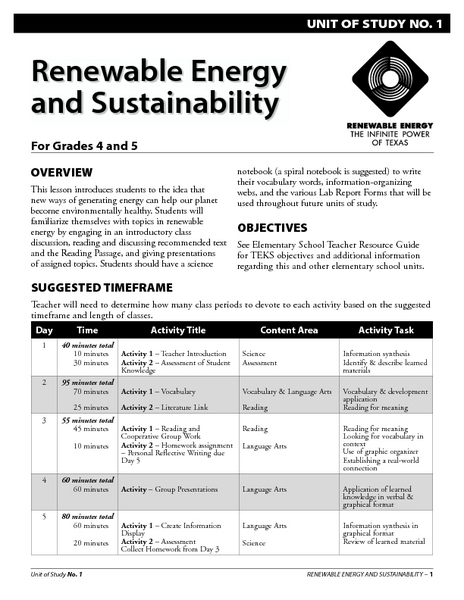 Renewable Energy and Sustainability Lesson Plan