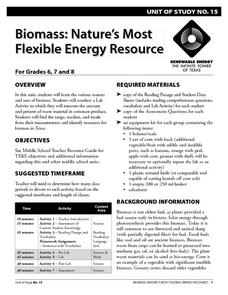 Biomass: Nature's Most Flexible Energy Resource Lesson Plan