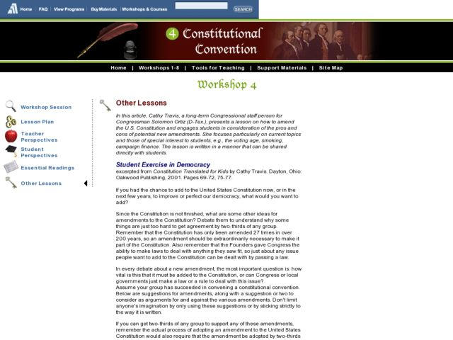 Workshop 4: Constitutional Convention Lesson Plan