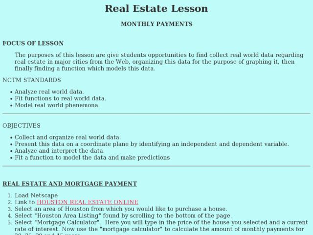 Real Estate Lesson:  Monthly Payments Lesson Plan