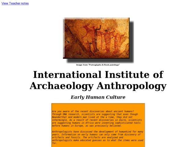 International Institute of Archaeology an Anthropology Lesson Plan
