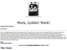 Work, Lyddie! Work! Lesson Plan