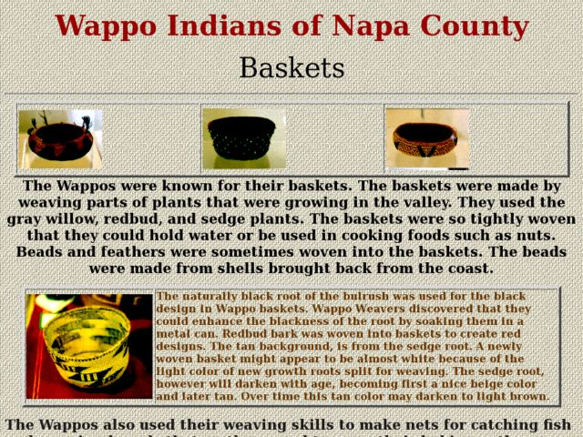 Wappo Indian Baskets Lesson Plan