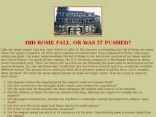 Did Rome Fall, Or Was It Pushed? Lesson Plan