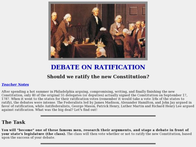 Debate On Ratification Lesson Plan