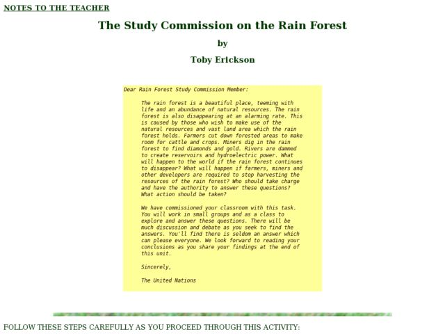 The Study Commission on the Rain Forest Lesson Plan