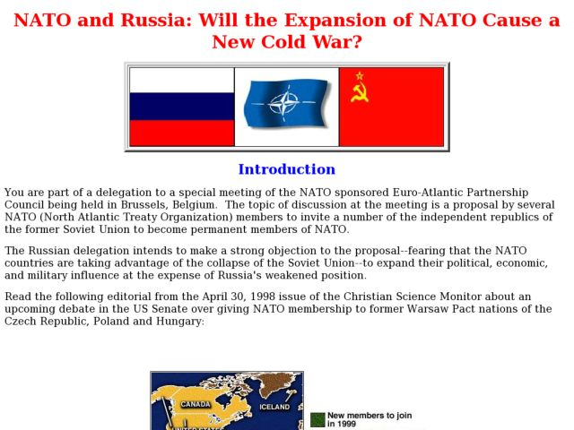 NATO and Russia: Will the Expansion of NATO Cause a New Cold War? Lesson Plan