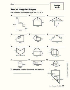 Area Of Irregular Shapes Worksheet for 4th - 8th Grade | Lesson Planet