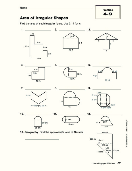 area of irregular shapes worksheet for 4th 8th grade lesson planet. Black Bedroom Furniture Sets. Home Design Ideas