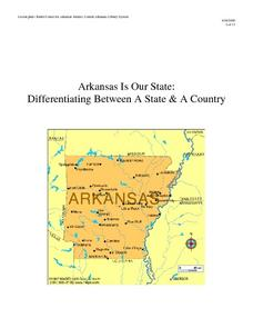 Arkansas is Our State: Differentiating Between a State and a Country Lesson Plan