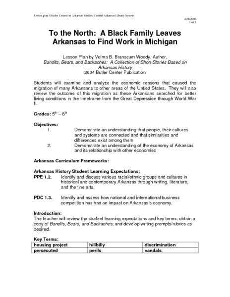 To the North: A Black Family Leaves Arkansas to Find Work in Michigan Lesson Plan