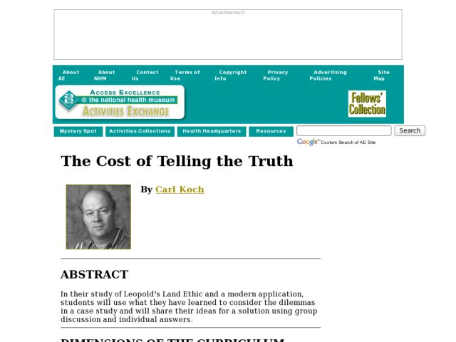 The Cost of Telling the Truth Lesson Plan