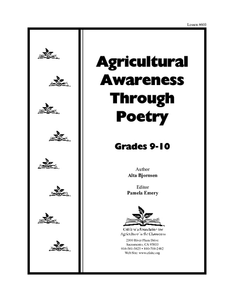 Agriculture Awareness Through Poetry Lesson Plan for 8th