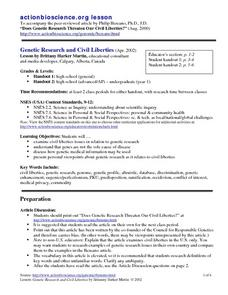 Genetic Research and Liberties Lesson Plan