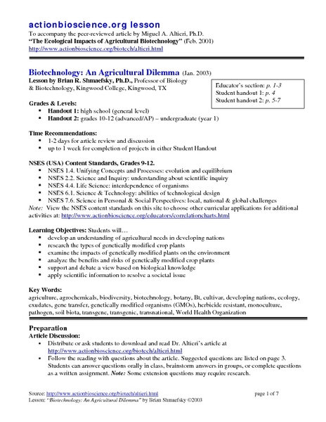 Biotechnology Lesson Plans Worksheets Lesson Planet