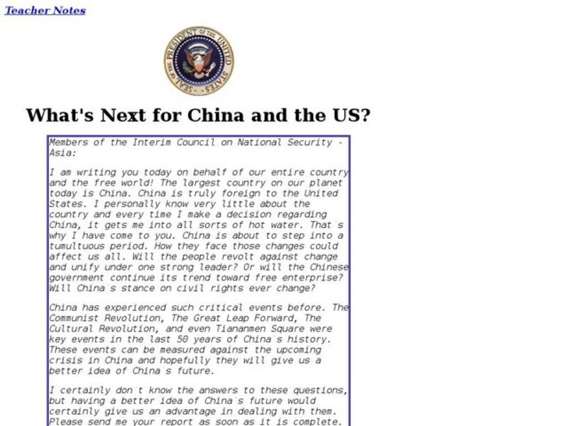 What's Next for China and the US? Lesson Plan