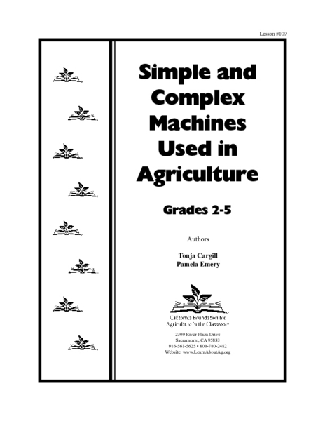 Simple and Complex Machines Used In Agriculture Lesson