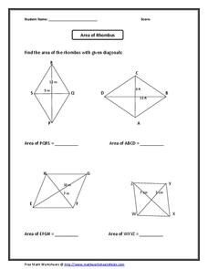 how to find area of a rhombus and kite