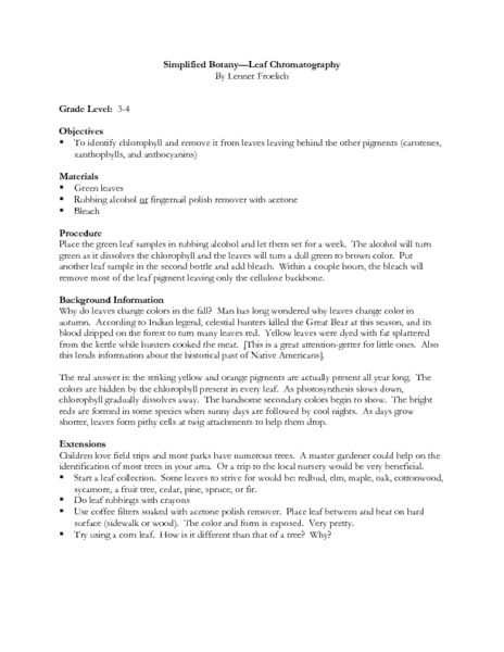 Simplified Botany--Leaf Chromatography Lesson Plan