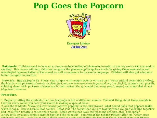 POP! Goes the Popcorn! Lesson Plan