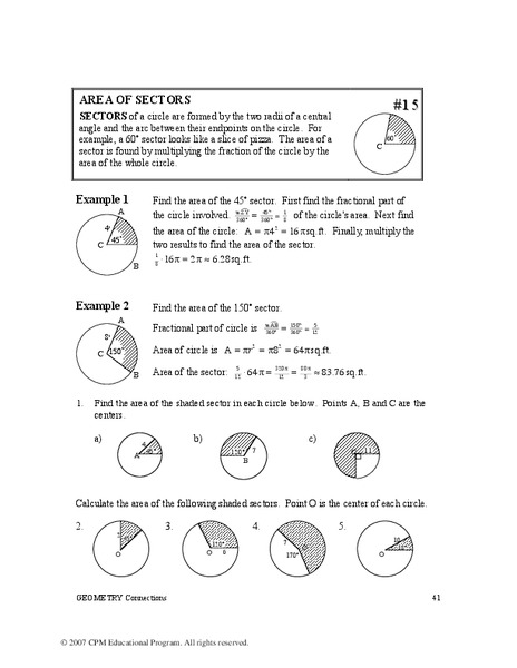 Worksheets Area Of A Sector Worksheet geometry worksheet arc length sector area segment sharebrowse of a sharebrowse