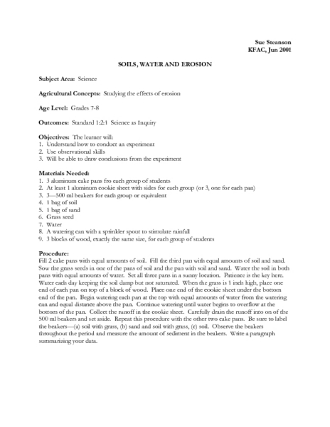 Soils, Water and Erosion Lesson Plan
