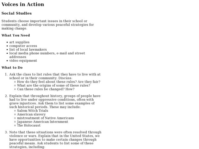 Voices in Action Lesson Plan