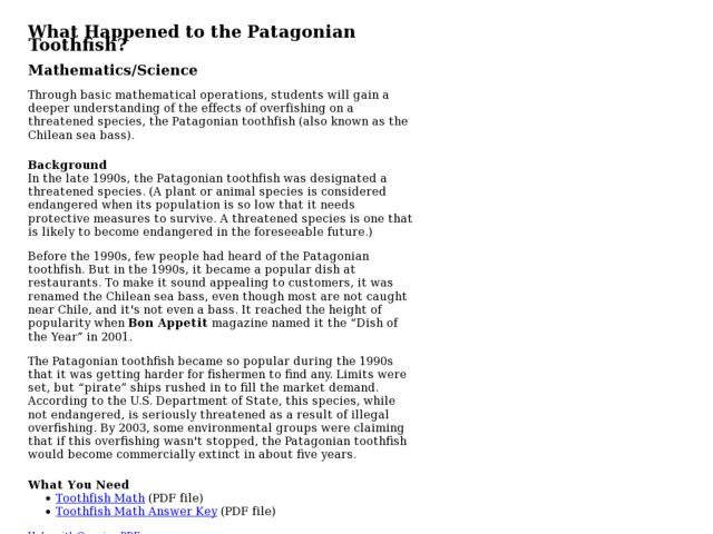 What Happened to the Patagonian Toothfish? Lesson Plan