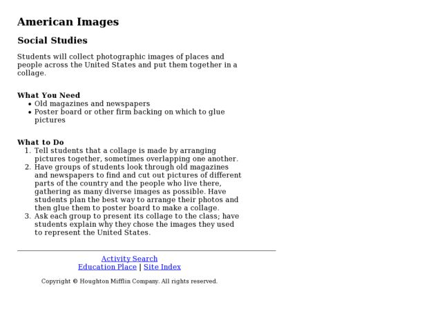American Images Lesson Plan