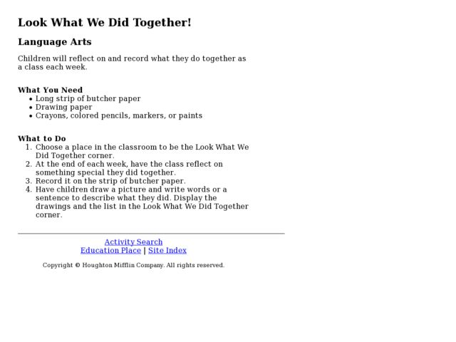 Look What We Did Together! Lesson Plan