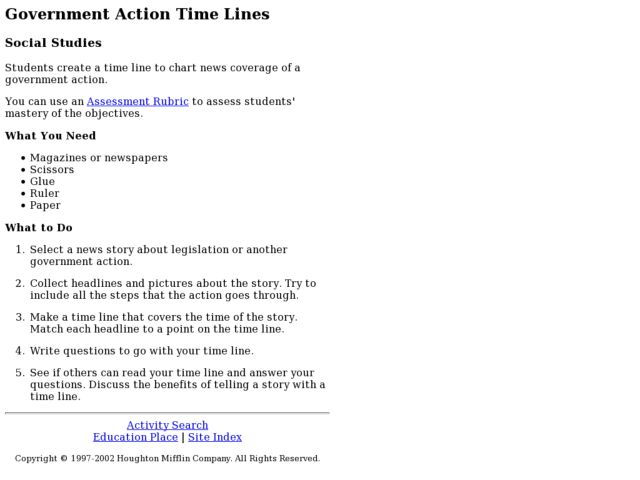 Government Action Time Lines Lesson Plan