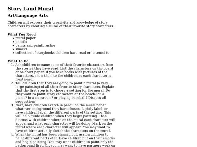 Story Land Mural Lesson Plan