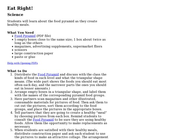 Eat Right! Lesson Plan