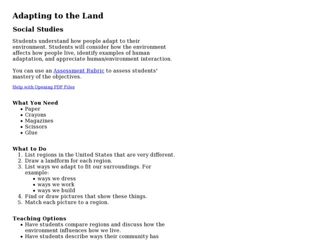 Adapting to the Land Lesson Plan