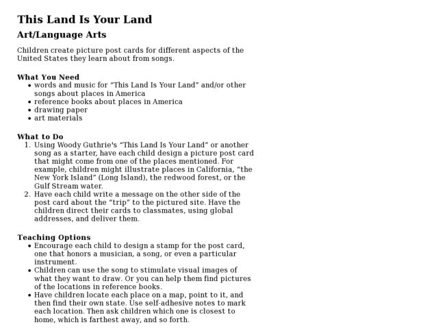 This Land Is Your Land Post Cards Lesson Plan