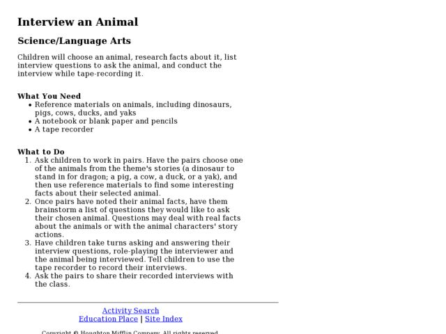 Interview an Animal Lesson Plan
