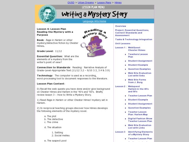 Writing a Mystery Story Lesson Plan