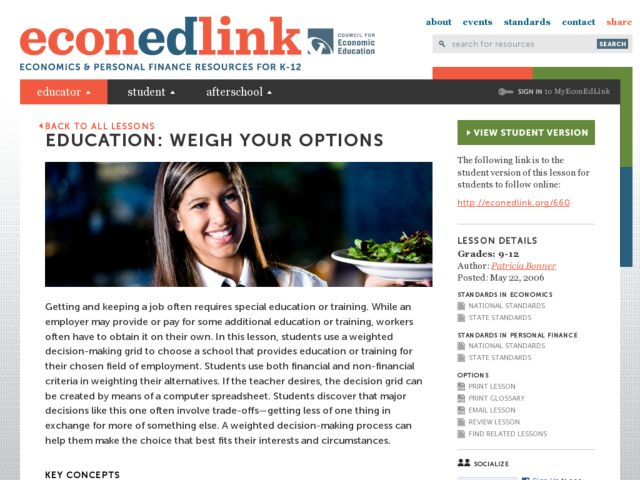 Education: Weigh Your Options Lesson Plan