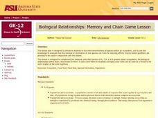 Biological Relationships - Coral Reef Memory Game and Chain Game Lesson Plan