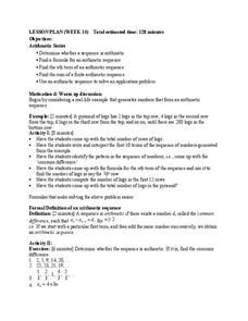 Arithmetic Sequences Lesson Plan