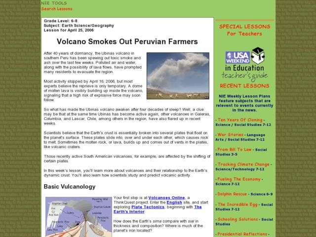Volcano Smokes Out Peruvian Farmers Lesson Plan
