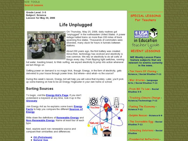 Life Unplugged Lesson Plan